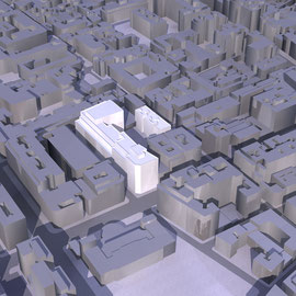Modelo 3d, edificio industrial, Madrid