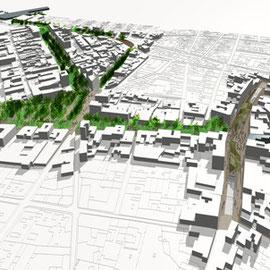 Modelo 3d, intervención urbanística, Albacete