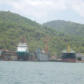 Werftbetriebe in Charguramas / Trinidad