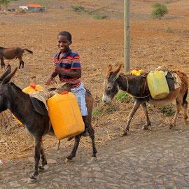 Kilometerweit kommen sie angeritten um zwei Kanister Wasser zu holen......