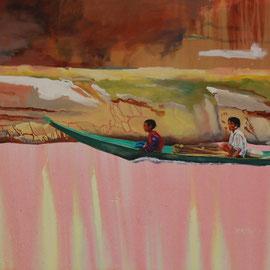 Mekong VII, 2018, Acryl auf Leinwand, 65 x 105 cm