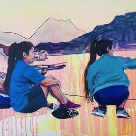Mekong VIII, 2020, Acryl auf Leinwand, 65 x 105 cm
