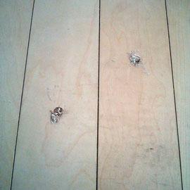 床鳴りの補修時の穴です