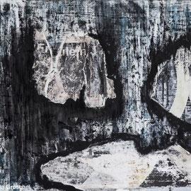 Turmstr 2, Collage, Papier, Gouache, Acryl auf Mdf-Platte 40cm x 50cm
