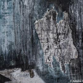 Turmstr 1, Collage ,Papier, Pittkreide, Gouache, Acryl auf Mdf-Platte 40cm x 50cm