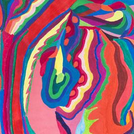 Colori. Acryl, Gouache auf Papier, 150cm x 50cm