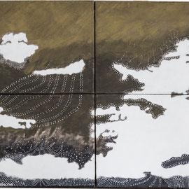 Wolken, Acryl , Gouache auf Leinwand, 60cm x 48cm