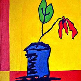 """""""il fiore di Carmela"""" acrilico su tela cm80x100 - graffio della nonna (1998)"""