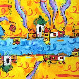 """""""case di colore"""" acrilico su tela cm50x40"""
