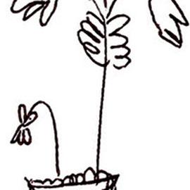 """""""fiori di tomba"""" acrilico e graffi su gesso su tavola di legno cm38x71 - graffio rubato ad una bambina da un libro di preghiere (2006)"""
