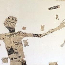 """""""l'uomo del 37"""" acrilici e carta giornale (copia del 1937) su tela ricoperta di stucco (prove) cm150x100"""
