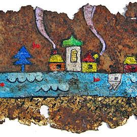 """""""case ritrovate""""acrilicisu pezzo di ferro arrugginito cm11x15.5 incollato su telacm23.5x23.5"""
