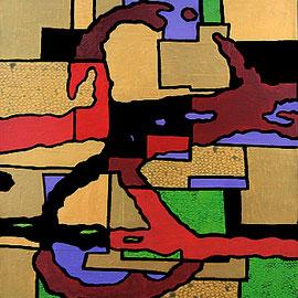 """""""il cerchio della vita"""" carta su tela e acrilico cm40x50 (2010)"""