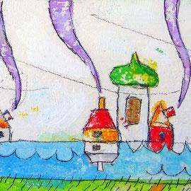 """""""le Case di Wilma"""" acrilici e tratto a matita su tela ricoperta di gesso graffiato cm22x10"""
