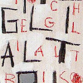 """""""parole quadrate"""" carboncino e gessetto su legno colorato con acrilico cm200x18,5"""