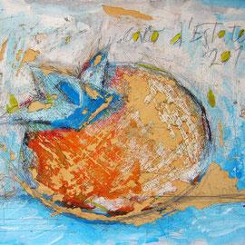 """""""caco d'Estate"""" acrilici e segni a matita con acquerelli su cartone vecchio cm30x24,5"""