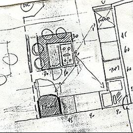 """""""cucina"""" acrilico su legno  cm103x103 - graffio rubato ad un venditore di cucine (1995)"""