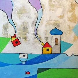 """""""La Casa sul Lago""""  colori acrilici ed inserti di giornale su tela cm50x50 (2)"""