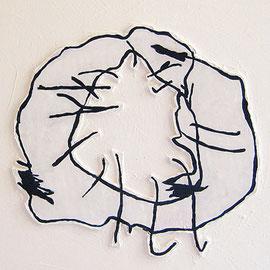 """""""il graffio di Alessandro"""" cartone ritagliato e gesso acrilico tela cm30x24 (2011)"""