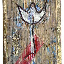 """""""il profumo del filo di ferro"""" filo di ferro su legno vecchio con inserti acrilici, carta giornale e foglia oro cm16x24 (sing.)"""