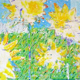 """""""girasoli di gesso"""" acrilici su cartone d'imballo con stucco, segni a matita e tracce di carta giornale cm60x45"""