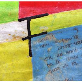 """""""la Lettera di Mara"""" colori acrilici, su un pezzo di carta cm5x6,5 (2017)"""