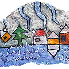"""""""case su Cima Ghez"""" acrilico su pezzo di roccia di Cima Ghez (mslm 2713) Dol. di Brenta - Trentino cm23.5x12"""