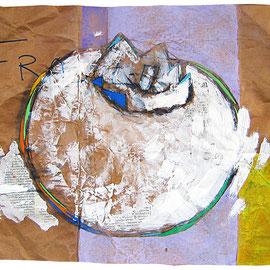 """""""caco non maturo"""" acrilici, tratto in carboncino e matita su foglio d'imballo cm59x32"""