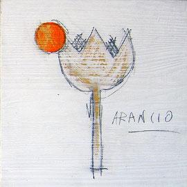 """""""fiori e bolli colorati"""" acrilico e segni di matita su tavole di legno di pino rifinite con vernice all'acqua cm18,5x18,5"""