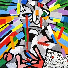 """""""L'Apparizione"""" acrilico su cartone cm55x74"""