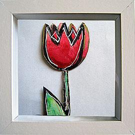 """""""fiori sotto vetro"""" (ritagli di cartone) acrilico cm16.5x16.5 (3)"""