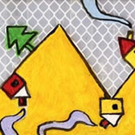 """""""case di montagna"""" acrilici su plastica adesiva rifrangente - prove per adesivo. cm22,5x6"""