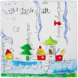 """""""case su mattonella"""" acrilici e foglia oro con segni a matita su mattonella di carton legno ricoperta di gesso acrilico cm14,5x14,5"""