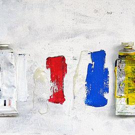 """""""tubetti mancanti"""" tubetti di colore ad olio incollatti su tela e sporcati con acrilici cm50x20"""