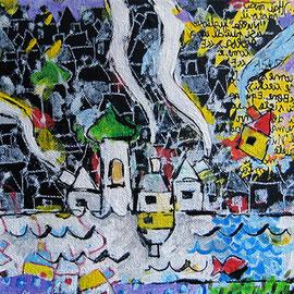 """""""la Casa della Musica"""" acrilico su tela cm20x20"""