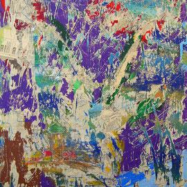 """""""ritagli graffiati"""" acrilici e carta con colori a matita (prove del 2004) cm50x60"""