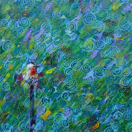 """""""il pettirosso"""" acrilico su cartone cm24x30"""