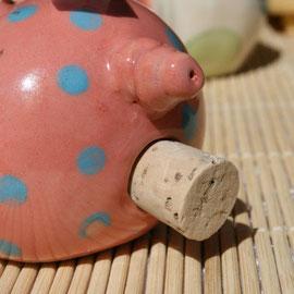 """Salzstreuer Glücksschwein """"Rüssline"""" Artikel - Nr. 2400/ 14,- € (Rückseite mit Korkenverschluß)"""