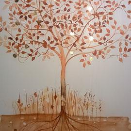 """""""El árbol de la vida"""", acuarela sobre gesso en tabla, 2016, 30 cm de altura."""