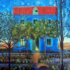 """""""La casa azul"""", acrílico sobre tabla 2017, 30 x 30"""