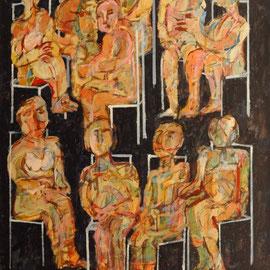 10 personajes sentados, acrílico 82 x 65 cms