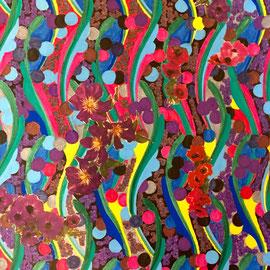 Clematis, Poppies, Anemones II, Collage, 35 x 25 cm
