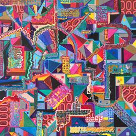 Hyperactive Lina, Acrylics/Collage, 70 x 70 cm