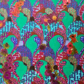 Clematis, Poppies, Anemones I, Collage, 35 x 25 cm