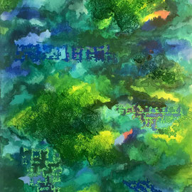 Greenery (Commission for M.), Acrylics and Oil Crayons on Canvas, 30 x 40 cm. Sold.