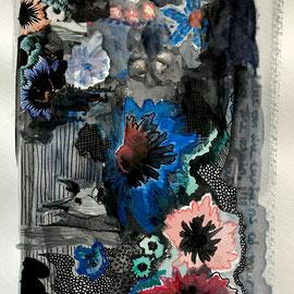 Cornflowers, Watercolors/Collage, 28,5 x 15 cm. Sold.