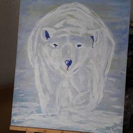 Weinender Eisbär,  Acryl