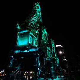 Stettiner Hafen Alte Krananlage Lichtinstallation