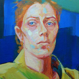 Red-haired woman. Acrylic on canvas. Detail.
