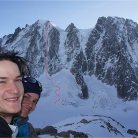 Chrissi and Alex after climbing the Suisse Route on Les Courtes!